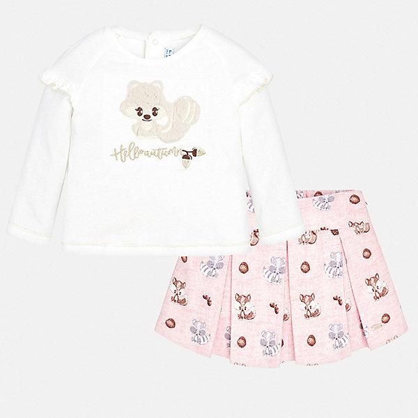 Mayoral Комплект: футболка с длиннмы рукавом и юбка Mayoral для девочки