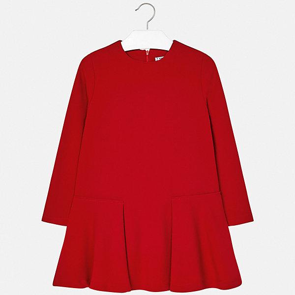 Платье Mayoral для девочкиОдежда<br>Характеристики товара:<br><br>• цвет: красный;<br>• состав ткани: 65% полиэстер, 35% вискоза;<br>• сезон: демисезон;<br>• застежка: молния;<br>• длинные рукава;<br>• страна бренда: Испания.<br><br>Платье для ребенка сделано из качественного материала, легкого и простого в уходе. Детское платье дополнено удобной застежкой-молнией, оно отличается сложным кроем подола и отсутствием декора. Лаконичное платье для детей от Mayoral - универсальная модель, которую можно надеть как на торжественный случай, так и сделать основой повседневного наряда. Детская одежда от испанского бренда Mayoral завоевала популярность во многих странах благодаря отличному качеству вещей, а также их стильному и оригинальному дизайну.