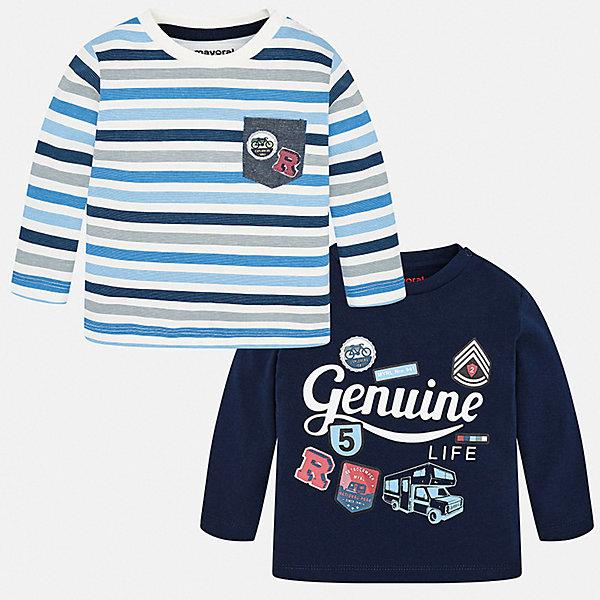 Купить Комплект: футболка с длинным рукавом 2 шт. Mayoral для мальчика, Испания, черный, 98, 86, 80, 92, 74, Мужской
