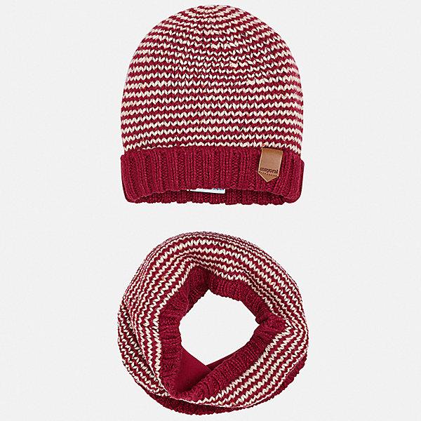 Комплект: шапка и шарф Mayoral для мальчика, Испания, бордовый, 50, 56, 46, 54, 58, 52, 48, Мужской  - купить со скидкой