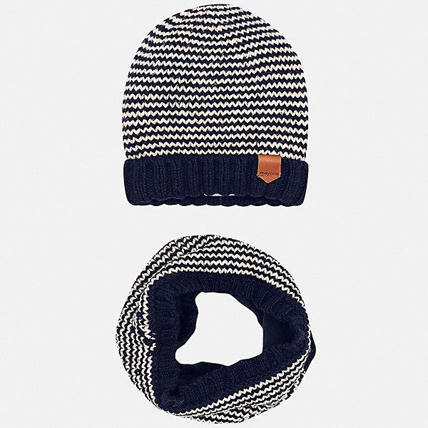 Купить Комплект: шапка и шарф Mayoral для мальчика, Бангладеш, синий, 48, 50, 56, 52, 58, 46, 54, Мужской