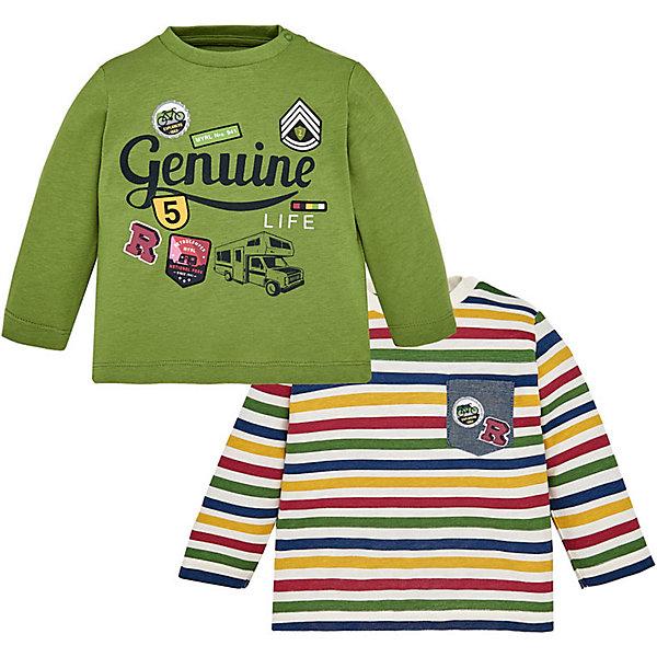 Купить Комплект: футболка с длинным рукавом 2 шт. Mayoral для мальчика, Бангладеш, зеленый, 86, 92, 80, 74, 98, Мужской