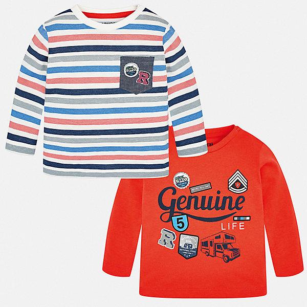 Лонгслив Mayoral, 2 штКофточки и распашонки<br>Характеристики товара:<br><br>• комплектация: 2 шт.;<br>• состав ткани: 100% хлопок;<br>• сезон: демисезон;<br>• длинные рукава;<br>• застежка: кнопки;<br>• страна бренда: Испания.<br><br>Яркая расцветка одежды для малышей делает наряд оригинальным и стильным! В этом детском комплекте - два эффектных лонгслива для детей. Каждая детская футболка с длинным рукавом разработана с учетом последних тенденций в молодежной европейской моде, она сделана из качественного материала. Лонгслив для ребенка отлично сочетается с джинсами и брюками в молодежном стиле. Этот детский лонгслив сделан из хлопкового материала, он хорошо держит цвет и форму.