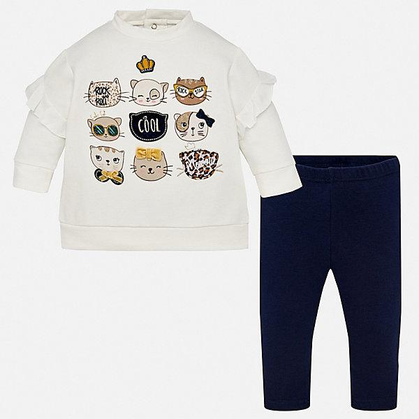 Купить Комплект: футболка с длинным рукавом и леггинсы Mayoral для девочки, Китай, синий, 74, 86, 98, 92, 80, Женский