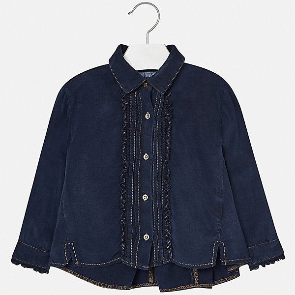 Блузка Mayoral для девочкиБлузки и рубашки<br>Характеристики товара:<br><br>• состав ткани: 100% лиоцелл;<br>• сезон: демисезон;<br>• застежка: пуговицы;<br>• длинные рукава;<br>• страна бренда: Испания.<br><br>Эта детская блузка, как и другие модели одежды от известного бренда Mayoral, отличается высоким качеством швов и ткани, а также стильным дизайном. Джинсовая детская блузка оригинально скроена - свободный силуэт с отложным воротничком и удлиненной спинкой. Блузка для ребенка украшена рюшами и дополнена небольшими пуговицами. Модная детская блузка сделана из качественного легкого материала, который обеспечит ребенку комфорт на весь день.