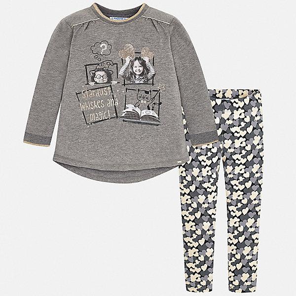 Купить Комплект: футболка с длинным рукавом и леггинсы Mayoral для девочки, Китай, серый, 128, 98, 104, 92, 122, 116, 110, 134, Женский