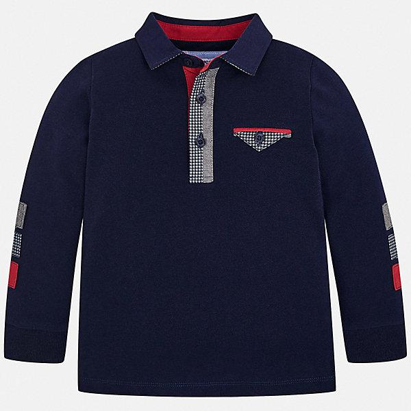 Поло MayoralФутболки с длинным рукавом<br>Характеристики товара:<br><br>• цвет: синий;<br>• состав ткани: 100% хлопок;<br>• сезон: демисезон;<br>• застежка: пуговицы;<br>• длинные рукава;<br>• страна бренда: Испания.<br><br>Такая детская рубашка-поло - классического прямого силуэта, но оригинальности ей добавляет необычная отделка ворота. Рубашка-поло для детей от Mayoral - пример европейского стиля и качества, которое заметно даже в деталях. Хлопковая рубашка-поло для ребенка сделана из натурального материала, дышащего хлопка. Детская одежда от испанского бренда Mayoral завоевала популярность во многих странах благодаря отличному качеству вещей, а также их стильному и оригинальному дизайну.