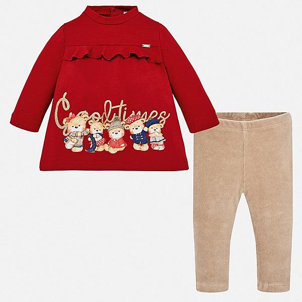 Купить Комплект: футболка с длинным рукавом и леггинсы Mayoral для девочки, Турция, красный, 92, 80, 74, 98, 86, Женский