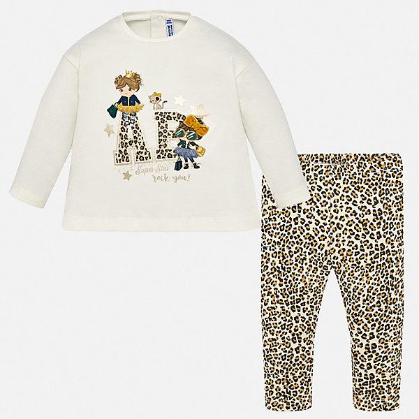 Купить Комплект: футболка с длинным рукавом и леггинсы Mayoral для девочки, Индия, коричневый, 86, 98, 92, 80, 74, Женский
