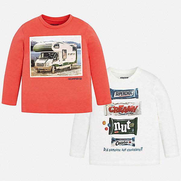 Купить Комплект: футболка с длинным рукавом 2 шт. Mayoral для мальчика, Бангладеш, розовый, 92, 116, 122, 134, 128, 110, 98, 104, Мужской