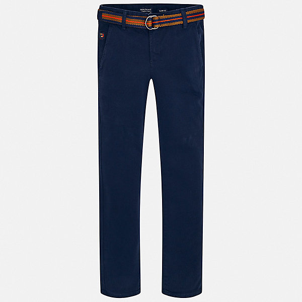 Брюки MayoralБрюки<br>Характеристики товара:<br><br>• комплектация: брюки, ремень;<br>• состав ткани: 98% хлопок, 2% эластан;<br>• сезон: демисезон;<br>• застежка: пуговица, молния;<br>• шлевки;<br>• страна бренда: Испания.<br><br>Детская одежда от испанского бренда Mayoral завоевала популярность во многих странах благодаря отличному качеству вещей, а также их стильному и оригинальному дизайну. Такие брюки для ребенка в комплекте с ремнем - это модно и удобно. Удобные детские брюки от испанского бренда Mayoral сделаны из плотной, но дышащей, смесовой ткани. Такие брюки для детей снабжены шлевками для ремня и вместительными карманами.