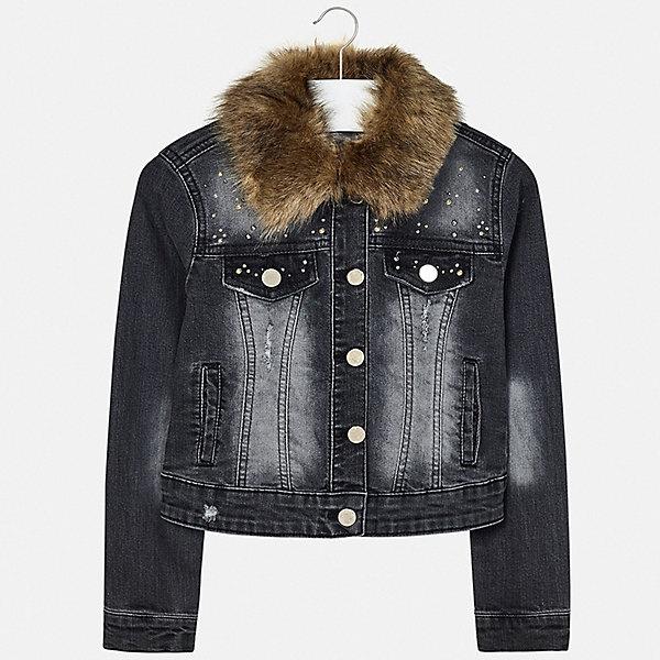 Куртка Mayoral для девочкиДжинсовая одежда<br>Характеристики товара:<br><br>• состав ткани верха: 69% хлопок, 29% полиэстер, 2% эластан;<br>• подкладка: нет;<br>• утеплитель: нет;<br>• сезон: демисезон;<br>• особенности модели: отстегивающийся воротник;<br>• застежка: пуговицы;<br>• длинные рукава;<br>• страна бренда: Испания.<br><br>Джинсовая детская куртка выполнена из прочного материала с эффектом потертостей, оригинальности ей придаёт отстегивающийся меховой воротник. Модная куртка для детей от Mayoral декорирована оригинальными аппликациями. Куртка для ребенка сделана из прочного качественного материала, который долго служит и легко стирается. Детская одежда от испанского бренда Mayoral завоевала популярность во многих странах благодаря отличному качеству вещей, а также их стильному и оригинальному дизайну.