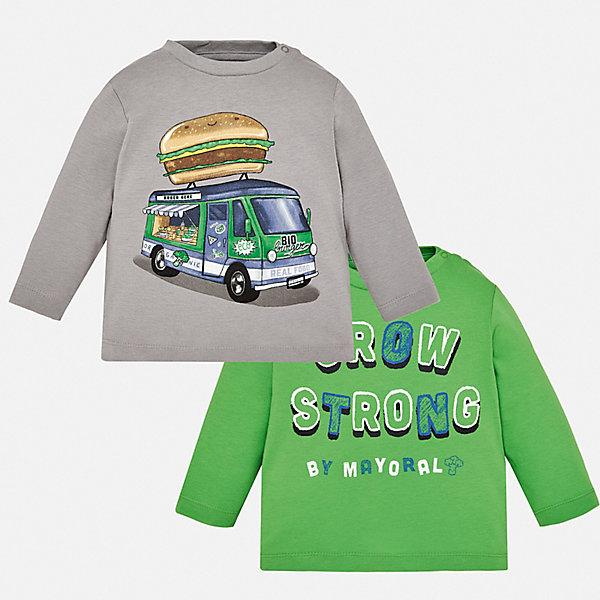 Купить Комплект: футболка с длинным рукавом 2 шт. Mayoral для мальчика, Бангладеш, зеленый, 74, 86, 92, 98, 80, Мужской