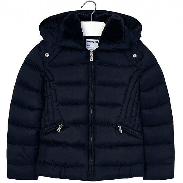 Куртка Mayoral для девочкиДемисезонные куртки<br>Характеристики товара:<br><br>• состав ткани верха: 100% полиэстер;<br>• подкладка: 100% полиэстер;<br>• утеплитель: 100% полиэстер;<br>• сезон: демисезон;<br>• температурный режим: от -5 до +15;<br>• особенности модели: с капюшоном, стеганая;<br>• капюшон: отстегивается;<br>• застежка: молния;<br>• длинные рукава;<br>• страна бренда: Испания.<br><br>Модная куртка для ребенка сделана из прочного качественного материала, она дополнена удобной молнией и искусственным мехом на воротнике. Утепленная куртка для детей от Mayoral поможет обеспечить ребенку комфорт и тепло в межсезонье. Детская куртка - классического прямого силуэта, с отстегивающимся капюшоном и карманами на молнии. Детская одежда от известной испанской марки Mayoral разработана с учетом последних тенденций в молодежной европейской моде, она сделана из качественного материала и фурнитуры.