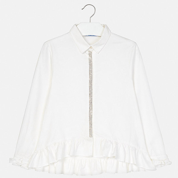 Блузка Mayoral для девочкиОдежда<br>Характеристики товара:<br><br>• состав ткани: 100% хлопок;<br>• особенности модели: нарядная;<br>• сезон: демисезон;<br>• длинные рукава;<br>• стразы;<br>• страна бренда: Испания.<br><br>Хлопковая детская блузка оригинально скроена - свободный силуэт с отложным воротничком отличается удлиненной спинкой. Блузка для ребенка просто надевается благодаря удобной застежке. Эта детская блузка сделана из дышащего и гипоаллергенного хлопкового материала, который обеспечит ребенку комфорт на весь день. Детская одежда от испанского бренда Mayoral завоевала популярность во многих странах благодаря отличному качеству вещей, а также их стильному и оригинальному дизайну.
