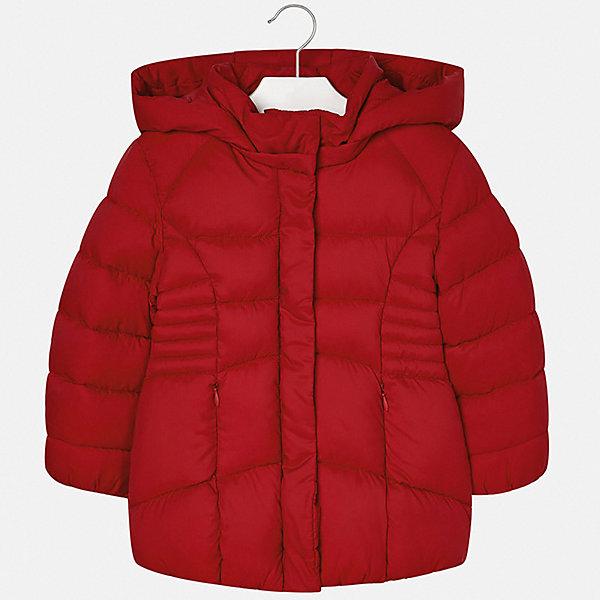 Куртка Mayoral для девочкиДемисезонные куртки<br>Характеристики товара:<br><br>• состав ткани верха: 100% полиэстер;<br>• подкладка: 100% полиэстер;<br>• утеплитель: 100% полиэстер;<br>• сезон: демисезон;<br>• температурный режим: от -5 до +15;<br>• особенности модели: с капюшоном, стеганая;<br>• застежка: молния;<br>• длинные рукава;<br>• страна бренда: Испания.<br><br>Эта стильная детская куртка - классического немного приталенного силуэта, с капюшоном и карманами на молнии. Утепленная куртка для детей от Mayoral - универсальная и удобная вещь для межсезонья, которая должна быть в гардеробе девочки. Куртка для ребенка сделана из прочного качественного материала, она дополнена удобной молнией с защитной планкой от ветра. Детская одежда от испанского бренда Mayoral завоевала популярность во многих странах благодаря отличному качеству вещей, а также их стильному и оригинальному дизайну.