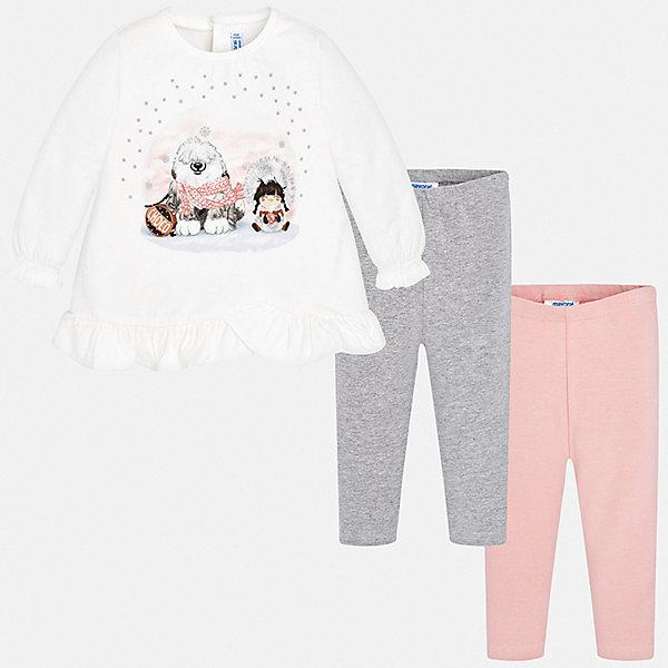 Комплект: футболка с длинным рукавом и леггины 2 шт. Mayoral для девочкиКомплекты<br>Характеристики товара:<br><br>• комплектация: лонгслив, леггинсы 2 шт.;<br>• состав ткани: 92% хлопок, 8% эластан;<br>• сезон: демисезон;<br>• застежка: кнопки;<br>• длинные рукава;<br>• талия: резинка;<br>• страна бренда: Испания.<br><br>Этот модный комплект для детей состоит из трикотажных лонгслива и двух однотонных леггинсов, которые можно надевать и с другой одеждой. Леггинсы из комплекта для ребенка комфортно сидят - в поясе мягкая резинка, детский лонгслив дополнен кнопками сзади и украшен оригинальным блестящим принтом. Детский комплект сделан из дышащего хлопкового материала с добавлением небольшого процента эластана, благодаря чему он отлично держит цвет и форму. Детская одежда от испанского бренда Mayoral завоевала популярность во многих странах благодаря отличному качеству вещей, а также их стильному и оригинальному дизайну.