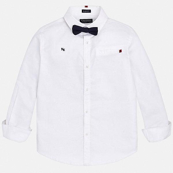 Рубашка Mayoral для мальчикаОдежда<br>Характеристики товара:<br><br>• состав ткани: 97% хлопок, 3% эластан;<br>• сезон: круглый год;<br>• особенности модели: нарядная, школьная;<br>• застежка: пуговицы;<br>• длинные рукава;<br>• страна бренда: Испания.<br><br>Эта однотонная классическая рубашка для ребенка дополнена галстуком-бабочкой. Модная детская рубашка сделана из качественного легкого материала, который обеспечит ребенку комфорт на весь день. Детская рубашка от Mayoral - это классический силуэт с отложным воротничком и при этом - материал модной фактуры и расцветки. Эта детская рубашка, как и другие модели одежды от известного бренда Mayoral, отличается высоким качеством швов и ткани, а также стильным дизайном.