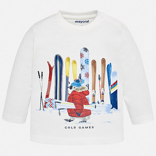 Футболка с длинным рукавом Mayoral для мальчикаКофточки и распашонки<br>Характеристики товара:<br><br>• состав ткани: 100% хлопок;<br>• сезон: демисезон;<br>• длинные рукава;<br>• застежка: кнопки;<br>• страна бренда: Испания.<br><br>Хлопковый лонгслив для ребенка легко одевается благодаря удобным кнопкам на плече. Эта детская футболка с длинным рукавом сделана из дышащего и гипоаллергенного хлопкового материала, простого в уходе. Модный детский лонгслив оригинально украшен эффектными принтом, который нравится юным модникам. Детская одежда от испанского бренда Mayoral завоевала популярность во многих странах благодаря отличному качеству вещей, а также их стильному и оригинальному дизайну.