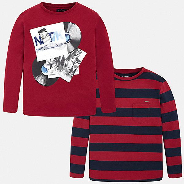 Купить Комплект: футболка с длинным рукавом 2 шт. Mayoral для мальчика, Испания, бордовый, 146/152, 128, 161/166, 134/140, 167/172, 153/160, Мужской