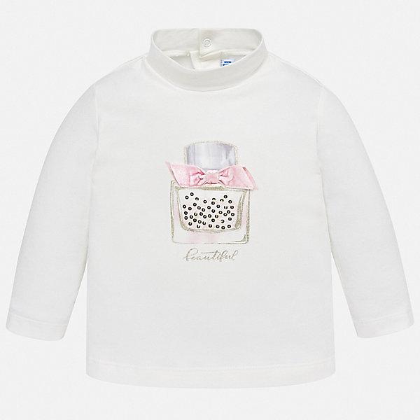 Футболка с длинным рукавом Mayoral для девочкиКофточки и распашонки<br>Характеристики товара:<br><br>• состав ткани: 95% хлопок, 5% эластан;<br>• сезон: демисезон;<br>• застежка: кнопки;<br>• длинные рукава;<br>• страна бренда: Испания.<br><br>Эта детская футболка с длинным рукавом разработана с учетом последних тенденций в молодежной европейской моде, она сделана из качественного материала и фурнитуры. Такой детский лонгслив декорирован оригинальным принтом, который был разработан дизайнерами бренда Mayoral специально для девочек. Лонгслив для ребенка легко надевать на малышей - сзади есть застежки-кнопки. Этот детский лонгслив сделан из хлопкового материала, в который добавлены синтетические нити - так он дольше служит, отлично держит цвет и форму.