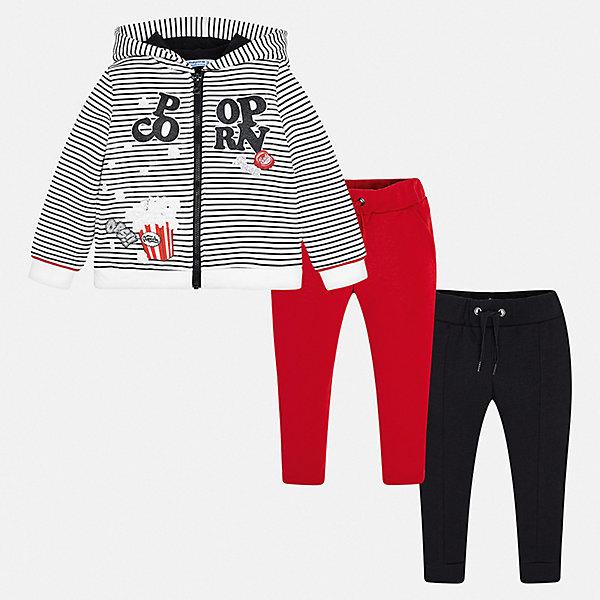 Спортивный костюм Mayoral для девочкиСпортивные костюмы<br>Характеристики товара:<br><br>• комплектация: толстовка, брюки 2 шт.;<br>• состав ткани: 58% хлопок, 39% полиэстер, 3% эластан;<br>• сезон: демисезон;<br>• особенности модели: с капюшоном;<br>• застежка: молния;<br>• длинные рукава;<br>• талия: резинка, шнурок;<br>• страна бренда: Испания.<br><br>Детская одежда от популярной марки Mayoral разработана с учетом последних тенденций в молодежной европейской моде, она сделана из качественного материала и фурнитуры. Спортивный костюм для детей состоит из толстовки и двух однотонных брюк, которые между собой отлично сочетаются. Брюки из комплекта для ребенка комфортно сидят - в поясе мягкая резинка и шнурок для надежной фиксации, детская толстовка отличается стильным декором и комфортной посадкой - на рукавах и по низу изделия есть мягкая трикотажная резинка. Детский спортивный костюм сделан из дышащего материала с преобладанием натурального хлопка в составе и добавлением небольшого процента синтетики, благодаря чему он отлично держит цвет и форму.