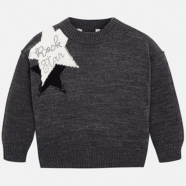 Свитер MayoralСвитеры<br>Характеристики товара:<br><br><br>• состав ткани: 60% акрил, 30% полиамид, 10% шерсть;<br>• сезон: демисезон;<br>• длинные рукава;<br>• стразы;<br>• страна бренда: Испания.<br><br>Модели одежды для детей от известного испанского бренда Mayoral - это стильные и комфортные вещи неизменно высокого качества. Теплый детский свитер украшен симпатичным вязаным рисунком и стразами. Свитер для ребенка от Mayoral - это не только стильное дополнение наряда, он позволяет обеспечить детям тепло и комфорт в прохладную погоду. Этот детский свитер сделан из качественного износоустойчивого материала.
