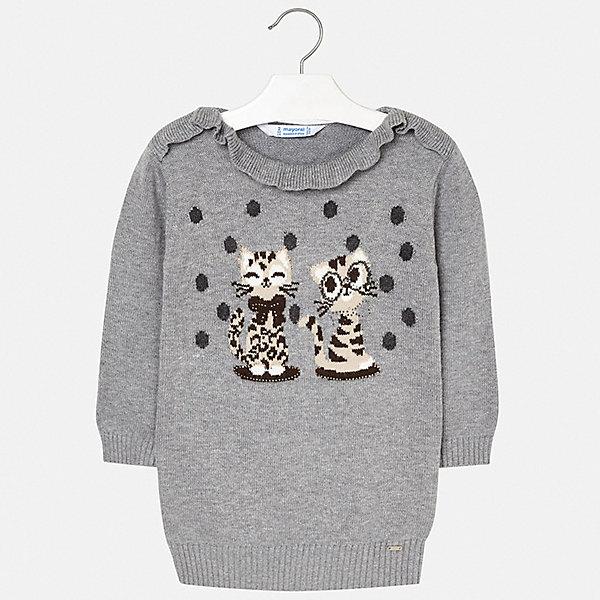 Платье Mayoral для девочкиПлатья и сарафаны<br>Характеристики товара:<br><br>• цвет: серый;<br>• состав ткани: 60% акрил, 30% полиамид, 10% шерсть;<br>• сезон: зима;<br>• длинные рукава;<br>• страна бренда: Испания.<br><br>Платье-свитер - отличный вариант универсальной одежды для холодного времени года! Это платье для детей от Mayoral - удобная и стильная вещь, которую можно сделать основой повседневного гардероба ребенка зимой или в межсезонье. Платье для девочки сделано из качественного материала, с содержанием натуральной шерсти. Детское платье украшено симпатичным вязаным рисунком и оригинальной отделкой горловины. Детская одежда от испанского бренда Mayoral завоевала популярность во многих странах благодаря отличному качеству вещей, а также их стильному и оригинальному дизайну.