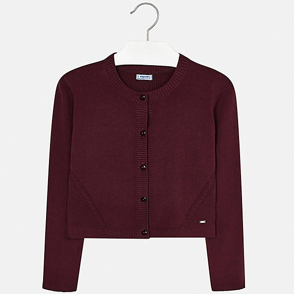 Жакет Mayoral для девочкиНарядная одежда<br>Характеристики товара:<br><br>• состав ткани: 80% хлопок, 17% полиамид, 3% эластан;<br>• сезон: демисезон;<br>• застежка: пуговица;<br>• длинные рукава;<br>• страна бренда: Испания.<br><br>Детская одежда от испанского бренда Mayoral - это гарантия высокого качества изделий и соответствие последним веяниям европейской моды. Классический жакет для ребенка - это не только стильное дополнение наряда, он позволяет обеспечить девочке тепло и комфорт в прохладную погоду. Этот детский жакет сделан из натурального хлопка, в ткань для эластичности и износостойкости добавлены синтетические нити. Однотонный детский жакет украшен небольшим логотипом и оригинальным вязаным узором по низу изделия, застежка - удобные небольшие пуговицы.