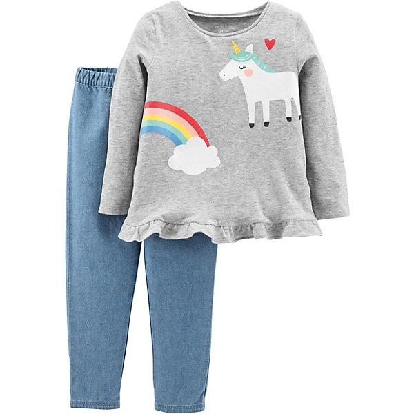 Комплект: Футболка с длинным рукавом и брюки Carter's для девочки Carter`s