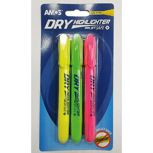 Amos Набор маркеров-текстовыделителей Amos, 3 цвета tori amos amos night of hunters