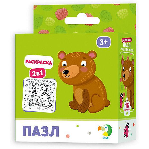 Dodo Пазл-раскраска 2-в-1 Медвежонок, 16 элементов