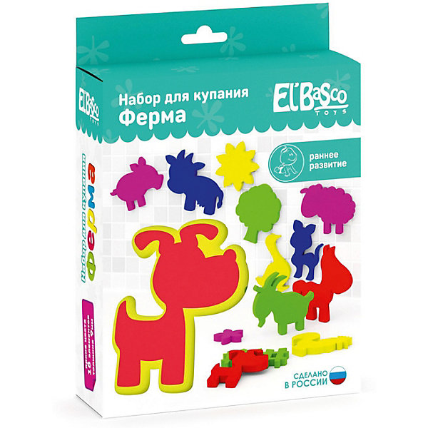 Набор для купания El`Basco Toys ФермаИгровые наборы для купания<br>Характеристики:<br><br>• возраст: с рождения;<br>• материал: EVA (вспененный полимер);<br>• в наборе: 18 фигурок;<br>• вес упаковки: 217 гр.;<br>• размер упаковки: 6х16х27 см;<br>• страна бренда: Россия.<br><br>Набор для купания El`Basco Toys «Ферма» включает мягкие и легкие фигурки животных. Если намочить фигурки водой, их можно приклеить к гладкой поверхности. Играя, малыш изучает названия зверей, формы и цвета.