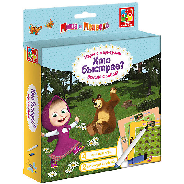 Vladi Toys Настольная игра с маркером Маша и Медведь Кто быстрее