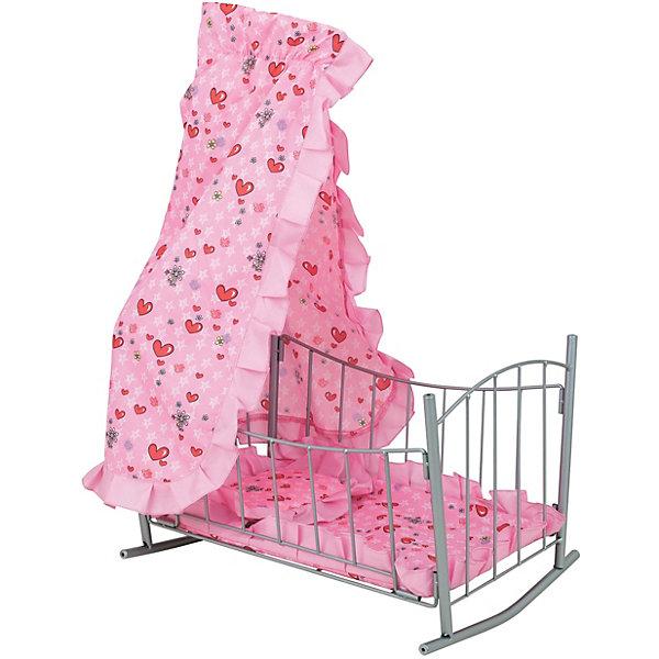 """Купить со скидкой Кроватка для кукол Buggy Boom """"Loona"""" с балдахином, светло-розовая"""
