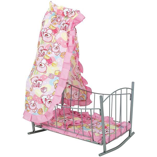 Кроватка для кукол Buggy Boom Loona с балдахином, светло-розоваяМебель для кукол<br>Характеристики товара: <br><br>• возраст: от 3 лет;<br>• пол: для девочек;<br>• комплект: 1 кроватка, балдахин, матрац;<br>• материал: металл, текстиль;<br>• размер игрушки: 46х33х65 см.;<br>• размер упаковки: 46х6х34 см.;<br>• вес: 1,810 кг.;<br>• упаковка: картонная коробка.<br><br>Кроватка для кукол Buggy Boom «Loona» настолько элегантна, что пришлась бы по душе даже настоящей принцессе и прекрасная возможность для девочки научиться материнской заботе. Очень удобно, что кроватка на колесиках, ее ребенок сможет легко передвигать в удобное для него место. Это классическая кроватка-качалка для куклы с балдахином просто не может оставить равнодушным. <br><br>Нежное цветовое оформление и изящные ограждения сами по себе вызывают трепетное чувство ответственности. Если же подключить к игре куклу, девочка может размеренно раскачивать ее в кроватке, напевая колыбельную, или рассказывать ей сказки, пока она не уснет.  Весь текстильный материал со специальной пропиткой, благодаря которой ткань долго не пачкается, очень прочная и не сильно мнется.