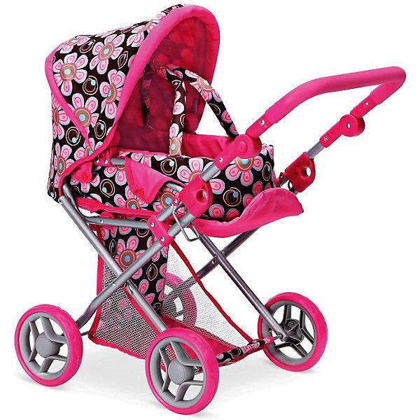 Коляска для кукол Buggy Boom Infinia трансформер, коричнево-малиноваяТранспорт и коляски для кукол<br>Характеристики товара: <br><br>• возраст: от 3 лет;<br>• пол: для девочек;<br>• комплект: 1 коляска;<br>• материал: металл, текстиль, пластик;<br>• размер игрушки: 66х36х66 см.;<br>• размер упаковки: 45х15х38 см.;<br>• вес: 2,75 кг.;<br>• упаковка: картонная коробка.<br><br>Коляска для кукол - трансформер Buggy Boom «Infinia» это необходимая деталь для игр девочек. Это красочная, классическая коляска-трансформер.<br><br>Особенности: люлька с ручками для переноски, регулируемая подножка, ручка регулируется (по высоте), складной капюшон, регулируемый подголовник. <br><br>Если достать люльку, поднять спинку и опустить подножку перед Вами сидячая коляска для кукол. Высота до ручки в самом высоком положении 62 см. Высота до ручки в нижнем положении 32 см.