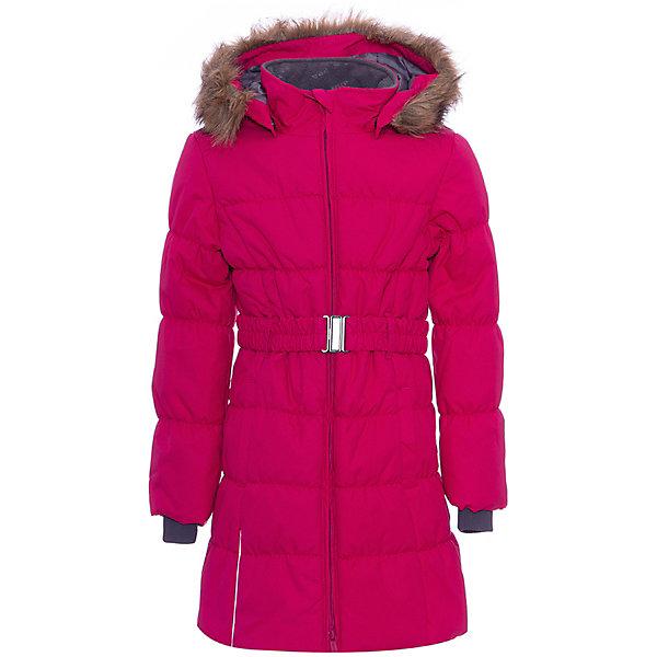 Пальто YACARANDA HUPPA для девочкиВерхняя одежда<br>Параметры изделия: <br><br>• объем груди: 94 см<br>• объем талии: 86 см<br>• объем бедер: 100 см<br>• длина рукава с учетом плеча: 68 см<br>• длина изделия: 81 см<br>• высота капюшона: 34 см<br>• глубина капюшона: 25 см<br><br>Характеристики товара:<br><br>• модель: Yacaranda <br>• состав: 100% полиэстер <br>• подкладка: 100% полиэстер, тафта, флис <br>• утеплитель: 100% полиэстер, 300 г/м2 <br>• сезон: зима <br>• температурный режим: от -20 до - 30С <br>• водонепроницаемость: 10000 мм <br>• воздухопроницаемость: 10000 г/м2/24ч <br>• застёжка: молния с защитой подбородка <br>• трикотажные манжеты <br>• безопасный съемный капюшон на кнопках <br>• искусственный мех на капюшоне не съемный <br>• светоотражающие элементы для безопасности ребенка <br>• страна бренда: Финляндия<br><br>Теплое зимнее пальто для девочек. Это универсальная недорогая модель подойдет как для школы, так и для долгих зимних прогулок. Современный утеплитель HuppaTherm отлично греет даже при очень низких температурах, а высококачественная мембрана не пропускает влагу, ветер и снег. Приталенный силуэт подчеркнут поясом на застежке. На рукавах есть внутренние манжеты из трикотажа, которые плотно облегают запястья для дополнительного тепла и защиты от продувания. Капюшон на кнопках дополнен опушкой из искусственного меха.