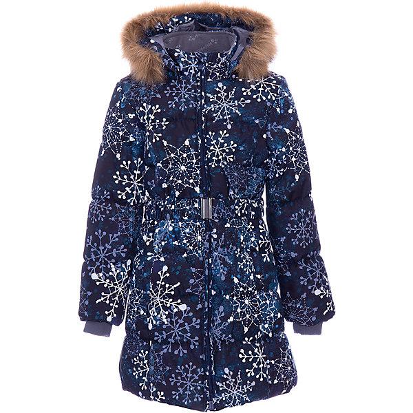 Утепленная куртка Huppa YacarandaКуртки<br>Параметры изделия: <br><br>• объем груди: 94 см<br>• объем талии: 86 см<br>• объем бедер: 100 см<br>• длина рукава с учетом плеча: 68 см<br>• длина изделия: 81 см<br>• высота капюшона: 34 см<br>• глубина капюшона: 25 см<br><br>Характеристики товара:<br><br>• модель: Yacaranda <br>• состав: 100% полиэстер <br>• подкладка: 100% полиэстер, тафта, флис <br>• утеплитель: 100% полиэстер, 300 г/м2 <br>• сезон: зима <br>• температурный режим: от -20 до - 30С <br>• водонепроницаемость: 10000 мм <br>• воздухопроницаемость: 10000 г/м2/24ч <br>• застёжка: молния с защитой подбородка <br>• трикотажные манжеты <br>• безопасный съемный капюшон на кнопках <br>• искусственный мех на капюшоне не съемный <br>• светоотражающие элементы для безопасности ребенка <br>• страна бренда: Финляндия<br><br>Теплое зимнее пальто для девочек. Это универсальная недорогая модель подойдет как для школы, так и для долгих зимних прогулок. Современный утеплитель HuppaTherm отлично греет даже при очень низких температурах, а высококачественная мембрана не пропускает влагу, ветер и снег. Приталенный силуэт подчеркнут поясом на застежке. На рукавах есть внутренние манжеты из трикотажа, которые плотно облегают запястья для дополнительного тепла и защиты от продувания. Капюшон на кнопках дополнен опушкой из искусственного меха.