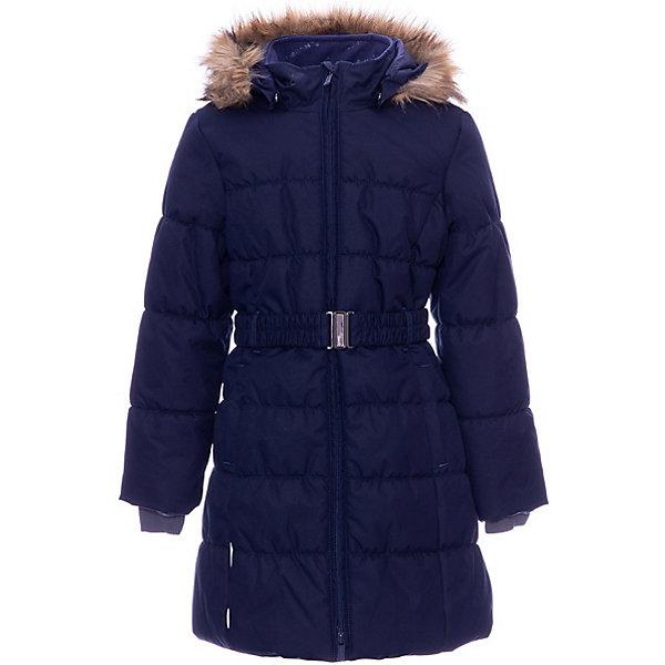 Утепленная куртка Huppa YacarandaЗимние куртки<br>Параметры изделия: <br><br>• объем груди: 94 см<br>• объем талии: 86 см<br>• объем бедер: 100 см<br>• длина рукава с учетом плеча: 68 см<br>• длина изделия: 81 см<br>• высота капюшона: 34 см<br>• глубина капюшона: 25 см<br><br>Характеристики товара:<br><br>• модель: Yacaranda <br>• состав: 100% полиэстер <br>• подкладка: 100% полиэстер, тафта, флис <br>• утеплитель: 100% полиэстер, 300 г/м2 <br>• сезон: зима <br>• температурный режим: от -20 до - 30С <br>• водонепроницаемость: 10000 мм <br>• воздухопроницаемость: 10000 г/м2/24ч <br>• застёжка: молния с защитой подбородка <br>• трикотажные манжеты <br>• безопасный съемный капюшон на кнопках <br>• искусственный мех на капюшоне не съемный <br>• светоотражающие элементы для безопасности ребенка <br>• страна бренда: Финляндия<br><br>Теплое зимнее пальто для девочек. Это универсальная недорогая модель подойдет как для школы, так и для долгих зимних прогулок. Современный утеплитель HuppaTherm отлично греет даже при очень низких температурах, а высококачественная мембрана не пропускает влагу, ветер и снег. Приталенный силуэт подчеркнут поясом на застежке. На рукавах есть внутренние манжеты из трикотажа, которые плотно облегают запястья для дополнительного тепла и защиты от продувания. Капюшон на кнопках дополнен опушкой из искусственного меха.