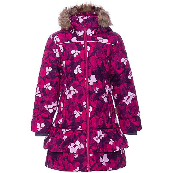 Утепленная куртка Huppa WhitneyКуртки<br>Параметры изделия: <br><br>• объем груди: 86 см<br>• объем талии: 82 см<br>• объем бедер: 96 см<br>• длина рукава с учетом плеча: 68 см<br>• длина изделия: 80 см<br>• высота капюшона: 35 см<br>• глубина капюшона: 27 см<br><br>Характеристики товара:<br><br>• модель: Whitney <br>• состав: 100% полиэстер <br>• подкладка: 100% полиэстер, тафта <br>• утеплитель: 100% полиэстер 300 гр/м2<br>• сезон: зима <br>• температурный режим: от -20 до -30С <br>• застёжка: двухсторонняя молния с защитой подбородка <br>• водонепроницаемость: 10000 мм <br>• воздухопроницаемость: 10000 г/м2/24ч <br>• водо- и грязеотталкивающая дышащая ткань <br>• безопасный съёмный капюшон <br>• съёмный искусственный мех на капюшоне <br>• высокий воротник-стойка <br>• внутренний эластичный трикотажный манжет <br>• карманы на молнии <br>• внутренняя этикетка с местом для имени <br>• светоотражающие детали <br>• страна бренда: Финляндия<br><br>Стильное пальто Whitney выполнено дышащей и грязеотталкивающей ткани, которая позволяет сохранить внутри собственное тепло ребенка и препятствует попаданию извне холодного воздуха. Его поверхность очень просто очистить от любых загрязнений.<br><br>Зимнее пальто для девочки Whitney. У Пальто съемный капюшон с отстегивающейся опушкой из искусственного меха, практичные карманы на молнии, двойная молния с защитой подбородка. Рукава куртки с внутренними манжетами.
