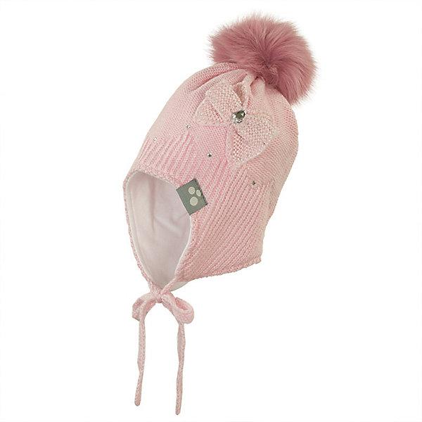 Шапка CALLIE HUPPA для девочкиГоловные уборы<br>Характеристики товара:<br><br>• модель: Callie <br>• состав: шапка: 100% акрил <br>• подкладка: 100% хлопок<br>• без дополнительного утепления <br>• сезон: зима, демисезон<br>• температурный режим: от +5С до -10С <br>• застёжка: шапка на завязках <br>• шапка со съёмным помпоном из искусственного меха <br>• декорирована стразами <br>• особенности: вязаная <br>• страна бренда: Финляндия<br><br>Шапка Huppa Callie - вязаная модель на завязках, которые обеспечивают плотное прилегание изделия к голове ребенка. Шапка декорирована стразами, вязаным бантиком с левой стороны и съемным меховым помпоном на макушке. Также, на изделии имеется небольшая нашивка со светоотражающим эффектом. Подкладка шапки изготовлена из мягкой хлопковой ткани.