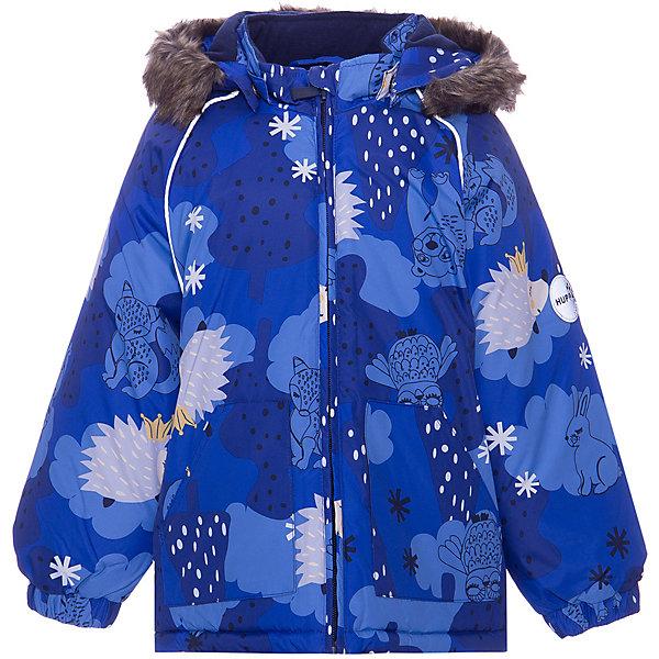 Куртка VIRGO HUPPAЗимние куртки<br>Параметры изделия: <br><br>• объем груди: 78 см<br>• длина рукава с учетом плеча: 48 см<br>• длина изделия: 49 см<br>• высота капюшона: 29 см<br>• глубина капюшона: 24 см<br><br>Характеристики товара: <br><br>• модель: Winter <br>• состав: 100% полиэстер <br>• подкладка: 100% хлопок, фланель <br>• утеплитель: 100% полиэстер, 300 гр/м2 <br>• сезон: зима <br>• температурный режим: от -20 до -30С <br>• водонепроницаемость: 5000 мм <br>• воздухопроницаемость: 5000 г/м2/24ч <br>• застёжка: молния <br>• сидельный шов проклеен и не пропускает влагу <br>• манжеты рукавов эластичные, на резинках <br>• низ брюк затягивается на шнурок с фиксатором <br>• внутренние снегозащитные манжеты на штанинах <br>• полукомбинезон с высокой грудкой, внутренние швы отсутствуют <br>• эластичные подтяжки регулируются по длине <br>• безопасный капюшон крепится на кнопки и, при необходимости, отстегивается <br>• искусственный мех на капюшоне не съемный <br>• молния с защитным клапаном <br>• светоотражающие элементы для безопасности ребенка <br>• страна бренда: Финляндия<br><br>Куртка прямого кроя с удлиненной спинкой и карманами на липучках. Утяжка по низу и планка на молнии исключает поддувание и попадание снега под куртку. Теплый капюшон с меховой опушкой легко отстегивается. Это предотвращает опасные ситуации во время игры, например, если капюшон ребенка за что-то зацепится. Полукомбинезон с высокой спинкой и резинкой на поясе скроены без внутреннего шва, поэтому они более устойчивы к истиранию и проникновению влаги. Задний шов проклеен. Утяжка с фиксатором по нижней части брюк и снежные гетры надежно защищают от попадания снега в обувь. Светоотражающие элементы повышают безопасность ребенка при нахождении на улице при любой видимости и в темное время суток.