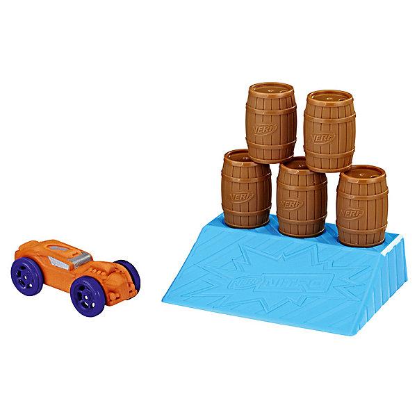 Аксессуар для Nerf Нитро Препятствие бочкиАвтотреки<br>Характеристики:<br><br>• возраст: от 5 лет;<br>• материал: пластик, пена;<br>• в наборе: машинка, препятствие;<br>• вес упаковки: 83 г;<br>• размер упаковки: 4х12х19,7 см;<br>• страна бренда: США.<br><br>Набор Hasbro Nerf Nitro представляет трамплин с препятствием для машинок. Автомобилю на большой скорости предстоит прорваться прямо по центру рампы, чтобы трюк удался. Сделано из качественных материалов.
