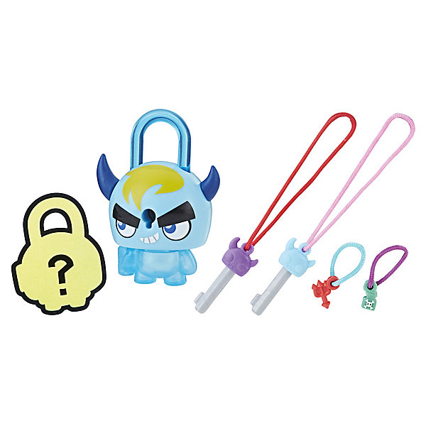 Замочки с секретом Lock Stars, Синий рогатый монстрКоллекционные фигурки<br>Характеристики:<br><br>• возраст: от 4 лет;<br>• материал: пластик;<br>• в наборе: замочек, мини-замочек, 2 ключика;<br>• вес упаковки: 70 г;<br>• размер упаковки: 3,8х11,4х20,3 см;<br>• страна бренда: США;<br>• упаковка: блистер.<br><br>Коллекционные замочки с секретом Hasbro Lock Stars выполнены в виде забавных фигурок. В каждой упаковке этой серии находится один большой и один мини-замочек, который ребенок сможет увидеть только после вскрытия блистера. Брелоки можно прикрепить к одежде, сумке или в любое другое место.