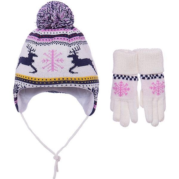 Купить Комплект Janus: шапка и перчатки, Норвегия, белый, 49-51, 53-55, 51-53, Женский