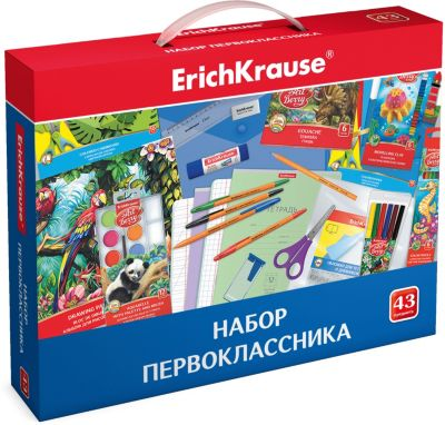 Набор первоклассника ErichKrause, 43 предмета, артикул:8961063 - Школьная канцелярия