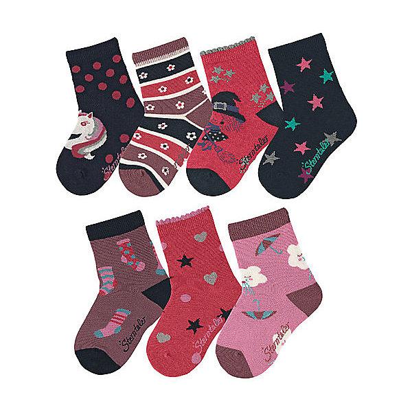 Носки Sterntaler для девочкиНоски<br>Характеристики товара:<br><br>• цвет: бордовый;<br>• состав: 85% хлопок, 12% полиамид, 3% эластан;<br>• сезон: круглый год;<br>• в комплекте: 7 пар;<br>• высокие носки;<br>• мягкая эластичная резинка;<br>• упакованы в коробочку;<br>• декорированы принтом;<br>• страна бренда: Германия.<br><br>Детские носки Sterntaler (Штернталер) очень мягкие и эластичные. Носки не портятся во время стирки и хорошо носятся. Высокие носки декорированы яркими интересными принтами. Мягкая эластичная резинка не давит. 7 пар носочков упакованы в картонную коробочку.