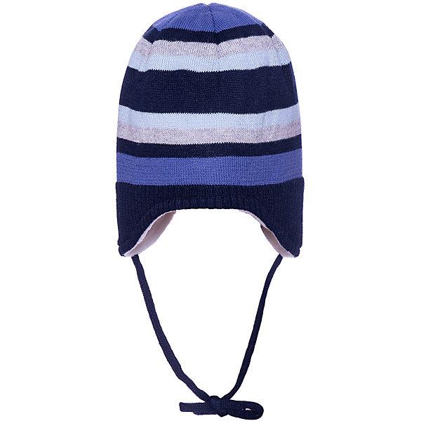 Шапка Sterntaler для мальчикаШапочки<br>Характеристики товара:<br><br>• цвет: тёмно-синий;<br>• состав: 100% хлопок;<br>• подкладка: 100% хлопок;<br>• утеплитель: без дополнительного утепления;<br>• сезон: зима;<br>• температурный режим: от 0 до -20С;<br>• застёжка: шапка на завязках;<br>• особенности: вязаная;<br>• мягкая эластичная кромка;<br>• шапка в полоску;<br>• страна бренда: Германия.<br><br>Детская шапка Sterntaler (Штернталер). Вязаная шапка на завязках, которые не натирают. Эластичная кромка не давит. Подкладка из мягкого хлопкового трикотажа сохранит уши и голову в тепле. Шапка в контрастную крупную полоску, подкладка контрастного белого цвета.