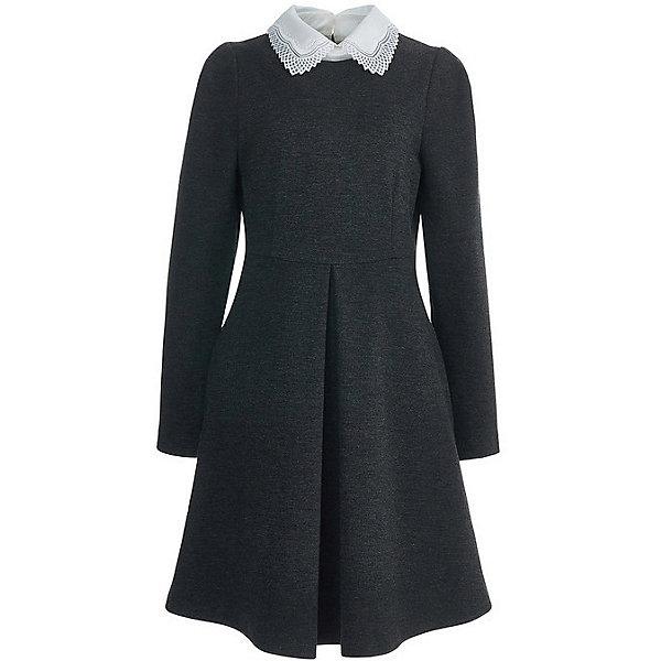 Платье Silver Spoon для девочкиПлатья и сарафаны<br>Характеристики товара:<br><br>• цвет: тёмно-серый меланж; <br>• состав: 65% вискоза, 30% нейлон, 5% эластан;<br>• подкладка: 55% полиэстер, 45% вискоза;<br>• сезон: демисезон;<br>• застёжка: молния на спинке;<br>• особенности: школьное;<br>• платье с длинным рукавом;<br>• приталенный крой;<br>• пышная юбка;<br>• контрастный белый воротник;<br>• страна бренда: Россия.<br><br>Школьное платье Silver Spoon для девочки. Платье с длинным рукавом застёгивается на молнию на спинке. Платье на подкладке с пышной юбкой, декорировано контрастным воротничком белого цвета.